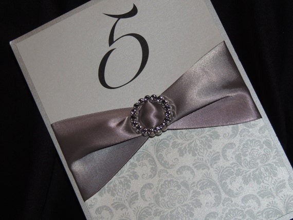 Bling Table Numbers - Ribbon and Crystal Accent