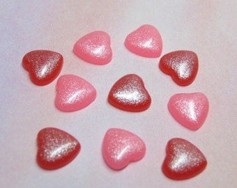 CLEARANCE shimmer pink or red 8mm hearts 10pcs for cell phone deco kawaii and decoden crafts jewelry supplies flat back cabochons miniature