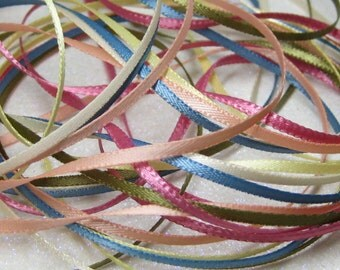 ribbon 1.6mm to 2mm narrow 1/16 inch satin flat double sided mixed colors 6 yards miniature dollhouse size peach blue yellow rose cream sage