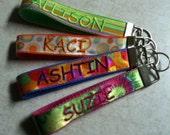 Custom Embroidered Key Fob Key Wristlet Sorority Fraternity Club Embroidered Name Custom Monogram Key Chain