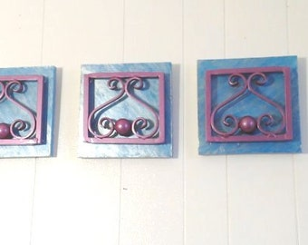 Set of 3 Decorative Abstract steel scroll panels mounted on wood