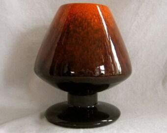 Vintage Freeman McFarlin Mushroom Vase Drip Glaze 7 in tall California Pottery Orange Black Staging
