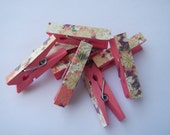Mini Clothespin Pink Purple and Gold Washi Paper Set of 8