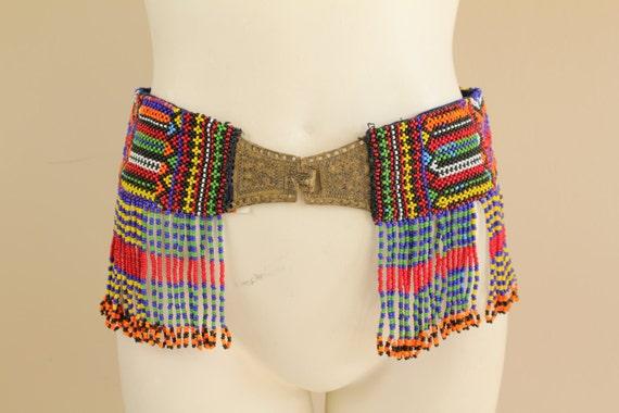 Gorgeous Vintage 60s / 70s Handmade T'boli EthnicTribal Beaded Fringe Metal Clasp Belt S/M 28/29