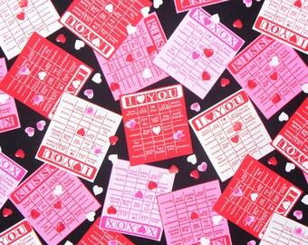 Valentine Fabric, Love Bingo, Valentine Hearts, Valentine Words,  Bingo Cards, By the Yard