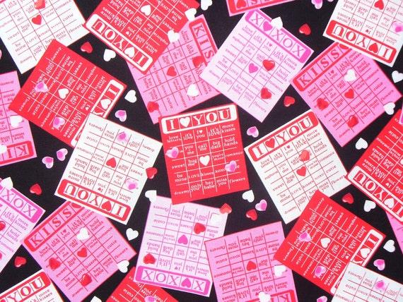 valentine fabric valentine bingo love bingo valentine hearts valentine words bingo cards by the yard from trinketsintheattic on etsy studio - Valentine Bingo Cards