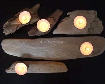Driftwood tea light holder, set of 5