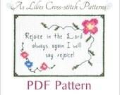"PDF Cross stitch Pattern ""Rejoice in the Lord"" - Digital Download Pattern - Beginner Cross-stitch Pattern - Bible Verse Cross stitch Pattern"