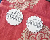1.5 Inch Scalloped Circle Paper 24 Shapes Hand Punched Page Vintage Sheet Music Organ Handmade Domum Vindemia Upcycled Recycled Musician