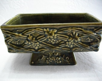 Vintage Dark Green Pottery Planter in Grapevine Design, Vintage Pottery