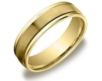 Gold Ring, Yellow Gold Wedding Band 14k Yellow Gold Mens Wedding Band Satin Polished Flat Mans Ring 6mm Plain Wedding Band with Satin Center