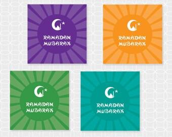 "DIY Ramadan Mubarak 2"" Party Circles - Instant Download"