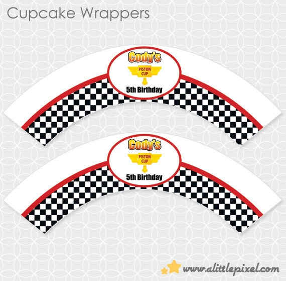 Party Printable Lightening McQueen-ish Party Theme Cupcake Wrappers - Personalized Printable