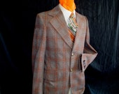 70s Deadstock 38R Polyester Sport Coat Jacket Beacon Colt Casuals Brown Rust Plaid