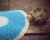 Wool felted placemat - turquoise blue and grey - Ocean colors - accent, home decor