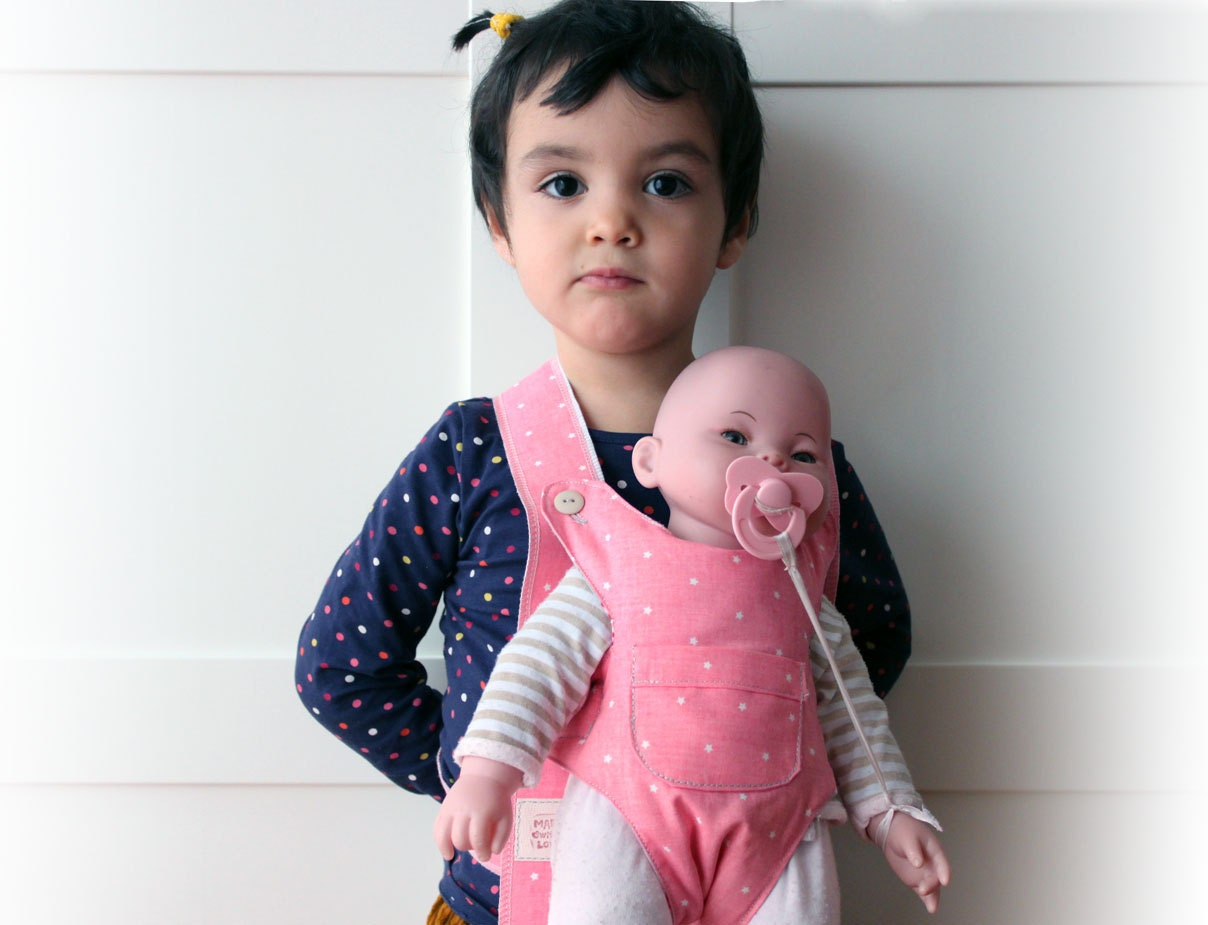 Pink waldorf doll carrier bear carrier toy american girl - Marsupio porta bambole ...