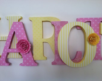 Wooden  letters for nursery in yellow,and pink