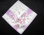 Vintage Hankie Hanky Handkerchief Floral Flowers Lily Of The Valley And Rose Buds        3062