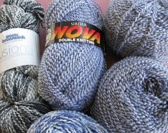 Destash, Vintage Sirday yarn, 3 100 gr skeins, 1 Brunswick Illusion skein plus odds and ends.