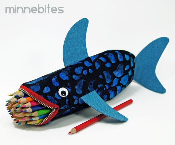 Shark Pencil Case by MinneBites / Handmade Shark Bag - Fun Shark Toy Bag - Boys Gift - Pencil Bag - Shark Week - Personalized School Bag