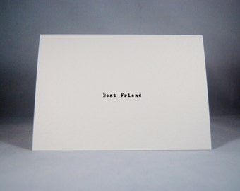 Best Friend card typewriter font blank