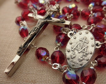 large Czech crystal rosary - red, Italy