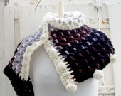 Reversible Cowl - Shawl - Hood with Pom-Pom Buttons - Crochet pattern - Instant Download Pdf