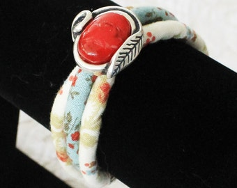 Fabric bracelet - Textile bracelet - Fabric cord - Flower bracelet - Woodland bracelet - Woodland jewelry - Red flower - Cord bracelet - USA