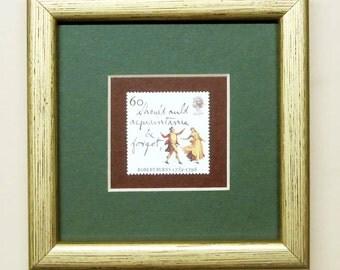 Robert Burns - Auld Lang Syne postage stamp - framed