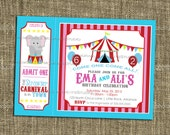 PRINTABLE INVITATIONS Carnival or Circus Party Celebration - Birthday Party - Red Pink and Blue Backgrounds - Memorable Moments Studio