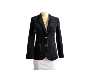 Vintage 80s Sasson Black Velvet Fitted Blazer