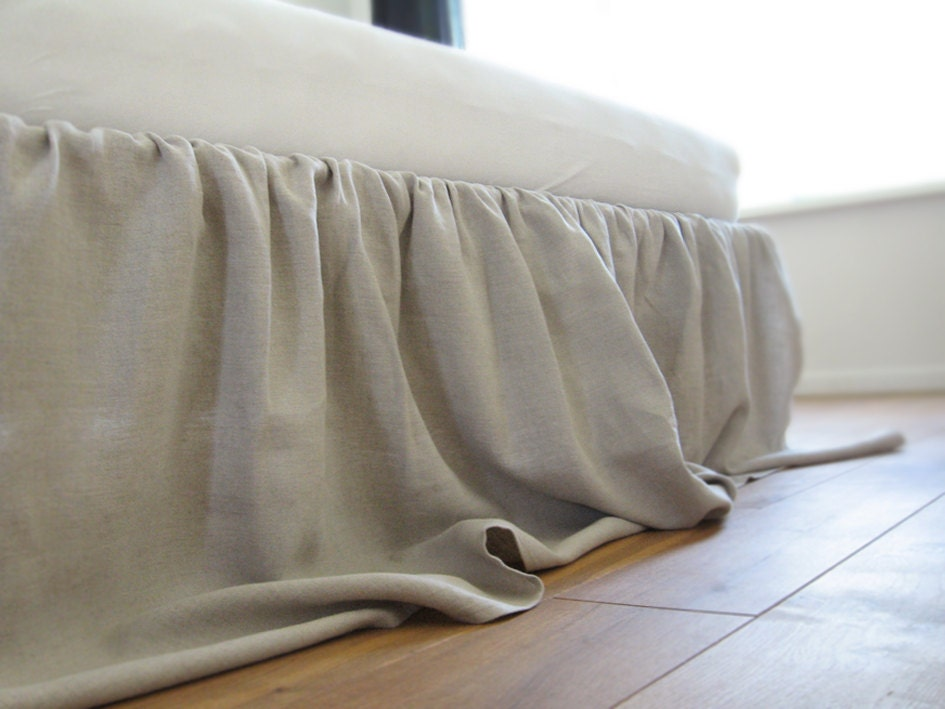 linen bed skirt queen dust ruffle custom color by lovelyhomeidea. Black Bedroom Furniture Sets. Home Design Ideas