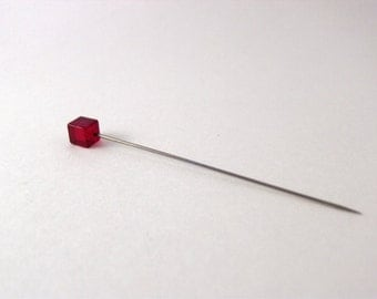 """Vintage Art Deco Red Glass Cube Hat Pin (3"""")"""