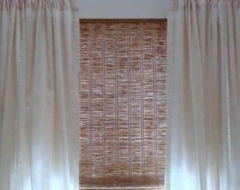 Custom Curtain Panels Ecru Wide Stripe Sheer Curtains Unlined Drapes 48x84