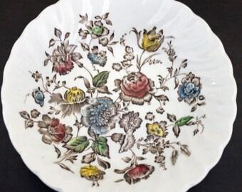 Vintage Staffordshire Bouquet Sm. Dessert Bowl Brown Blooms (E1006)