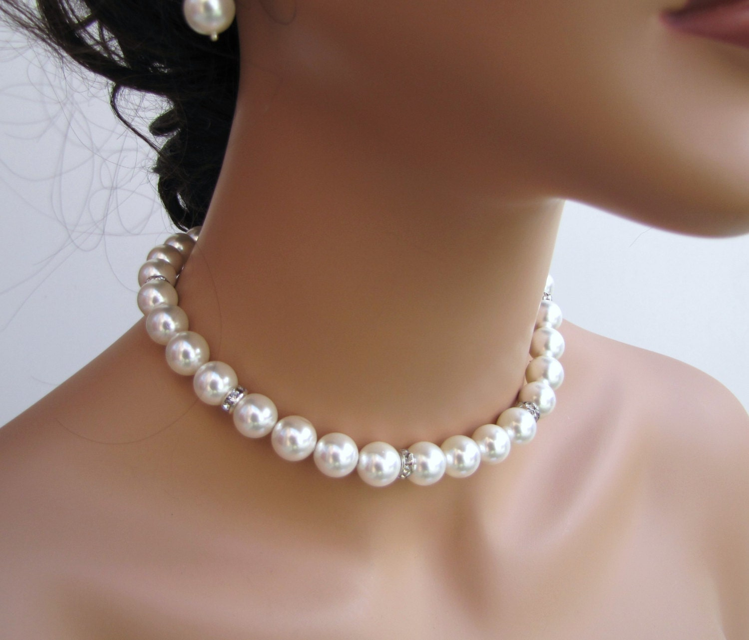 Simple white pearl necklace bridal necklace sea shell pearl
