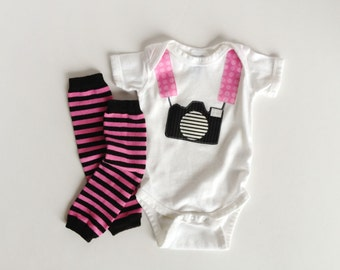 Tourist Baby Camera Onepiece Bodysuit and Pink Baby Leg Warmers