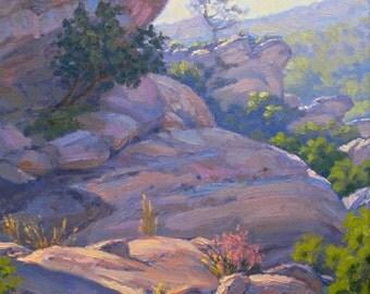 Landscape Painting, California Plein Air Painting, Vasquez Rocks Park by Elena Roché
