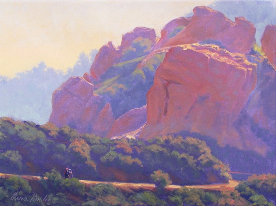 Landscape Painting, California Plein Air Painting, Topanga State Park by Elena Roché