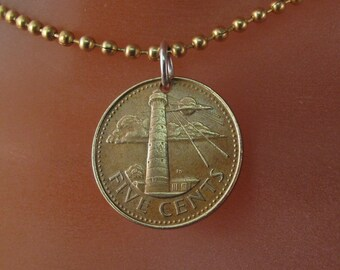 BARBADOS necklace / nautical necklace / sailing gift /   coin jewelry /  lighthouse pendant . chain.  No.001371