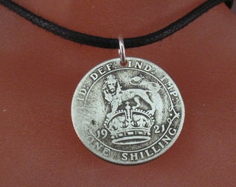 antique ENGLISH silver shilling necklace -  antique silver coin  -  England coin jewelry  -  uk.  No.001315 -3
