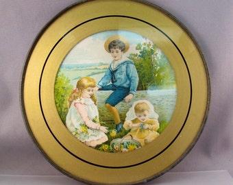 VICTORIAN PICTURE. print. art. framed. children. baby. antique art. circular.