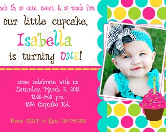 DIY Cupcake 3 Birthday Party  PRINTABLE Invitation 5x7 4x6 pink green teal yellow GIRL first 1st