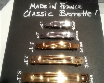 12 Gold 80 mm HAIR BARRETTE  'Made in France' automatic barrette blank  - The original automatic - 12 - Free US shipping
