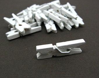 Ice White Mini Clothespin - Set of 25