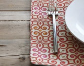 Placemats - Red Orange and Pink Design - Set of 4