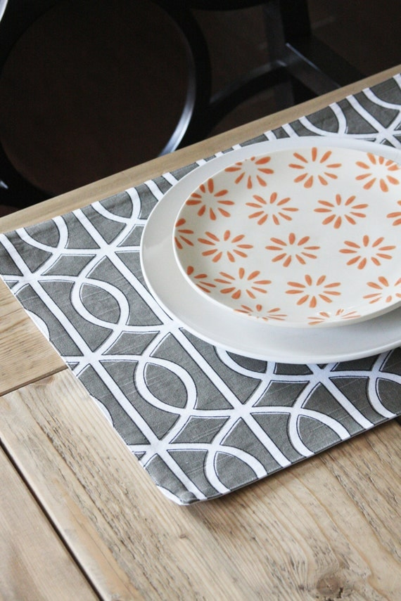 Modern Placemats Grey Squiggles Set Of 4