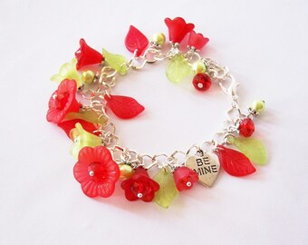 Floral charm bracelet - Red & Green - Be Mine, Mother's day, Hearts, Ladybug