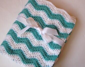 Baby blanket crochet aqua and white ripple chevron blanket