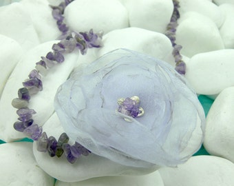 Handmade sterling silver necklace with semiprecious stones and a flower made of ribbons in purple - 19544